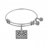 """Brass with White Finish """"Finish Line"""" Pride Enamel Charm for Angelica Bangle"""