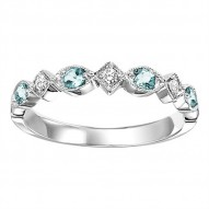 10K Aquamarine & Diamond Mixable Ring