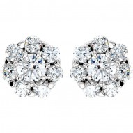 14K White 2 CTW Diamond Cluster Earrings