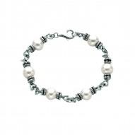 Silver Rhodiumoxidized Finish Shiny 9.2Mm White Pearl Fancy Bracelet With Lobster Clasp