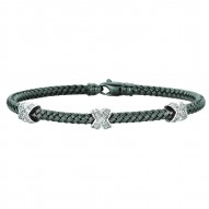 Silver Rhodiumruthenium Finish 3.65Mm Shiny Basketweaved 0.01Ct White Diam Ond Bangle With Fancy Lobster Clasp