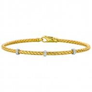 Silver Yellowrhodium Finish Shiny Basketweave 0.06Ct White Diamond Heart Bangle With Lobster Clasp