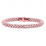 Silver Rose Finish Shiny Round Beaded Stackable Bracelet With Magnetic Clas Pwhit Cubic Zirconia