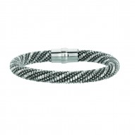 Silver With Rhodiumruthenium Finish 8.5Mm Shiny Two Tone Beaded Bracelet With Magnetic Clasp