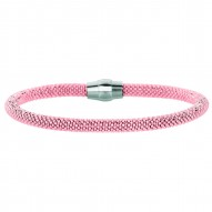 Silver With Rhodiumrose Finish 4.8Mm Shiny 2-Tone Beaded Bracelet With Magnetic Clasp