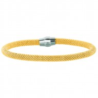 Silver With Rhodiumyellow Finish 4.8Mm Shiny 2-Tone Beaded Bracelet With Magnetic Clasp