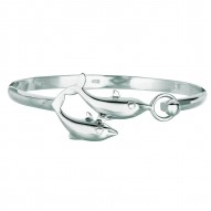 Silver With Rhodium Finish Shiny 4.3Mm Bangle With 2-Dolphin