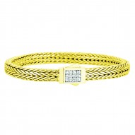 18K Yellow Gold 6Mm Square Dimension Wheat Bracelet With 0.24Ct.White Diamond Studded Flat Box Clasp