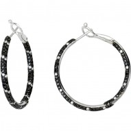 2 3/4 CTW Black & White Diamond Inside/Outside Hoop Earrings
