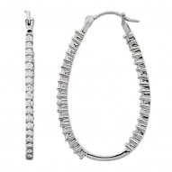 Platinum 1/2 CTW Diamond Inside/Outside Hoops
