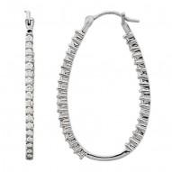 Platinum 1/2 CTW Diamond Inside/Outside Hoops
