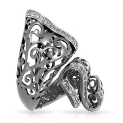 Antoinette Collection In Sterling Silver Cz.White Ring