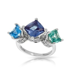 Destiny Collection In Ss Cz.Blue/Cz.Green Ring