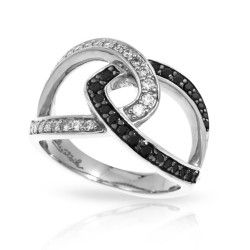 Duet Collection In Sterling Silver Whtblk/Cz Ring