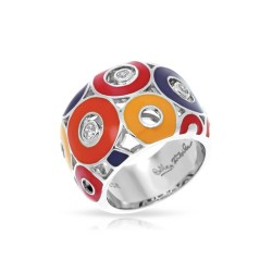 Nova Collection In Sterling Silver Summer Org/Yel/Blue/Red/Cz Ring