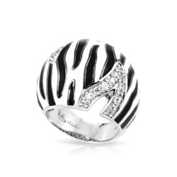 Tigris Collection In Sterling Silver Black/Whiteen/Cz Ring
