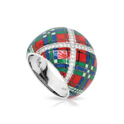 Tartan Collection In Sterling Silver Red/Blue/Grnten/Cz Ring