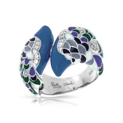 Love In Plume Collection In Sterling Silver Tur/Blueen/Cz.Black Ring