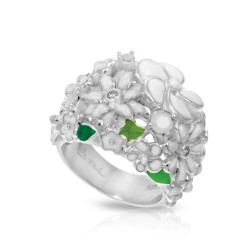 Jardin Collection In Sterling Silver White/En/ White/Cz Ring