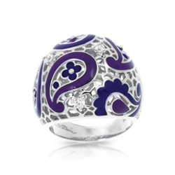 Koyari Collection In Sterling Silver Purple &Blue/En/White /Cz Ring