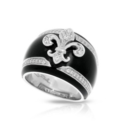Fleur De Lis Collection In Sterling Silver Blk/En//White /Cz Ring