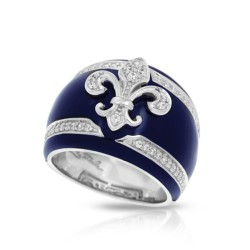 Fleur De Lis Collection In Sterling Silver Blue/En/White /Cz Ring