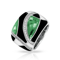 Tango Collection In Sterling Silver /Blk& White /En./Syn.Emerald Ring