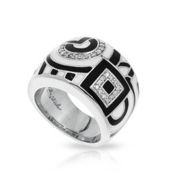 Geometrica Collection In Sterling Silver Blk_White /En/White /Cz Ring