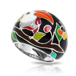 Love Collection In Toucan Sterling Silver Black/En White /Cz Ring