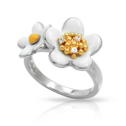 Daisy Collection In Chain Sterling Silver Rosegold_White En Ring