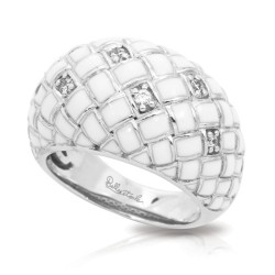 Harlequin Collection In Sterling Silver En_White /White _Cz Ring