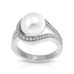 Claire Collection In Sterling Silver Wht/Pearl/Wht/Cz Ring
