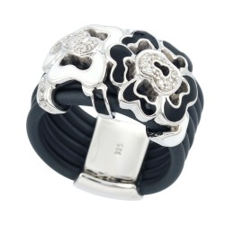 Fiori White/Charcoal Ring