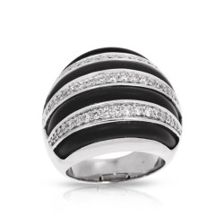 Intermezzo Collection In Sterling Silver Blk/Ru/White /Cz Ring