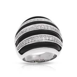 Intermezzo Collection In Sterling Silver Blk/Ru/White /Cz Ring