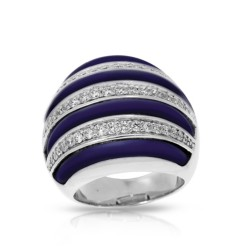 Intermezzo Collection In Sterling Silver Blue/Ru/White /Cz Ring
