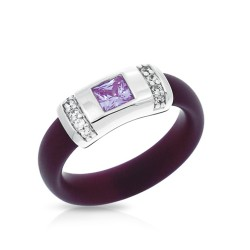 Celine Collection In Sterling Silver Plum/Ru/Amethyst/Cz Ring