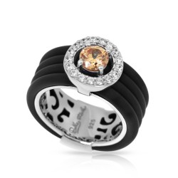 Circa Collection In Sterling Silver Blk/Ru/ Champagne/Cz Ring