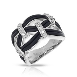 Riviera Collection In Sterling Silver Blk/En/White /Cz Ring