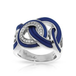 Unity Collection In Sterling Silver Blue/Ru/White /Cz Ring