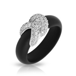 Ariadne Collection In Sterling Silver Rub.Blk/Cz.White Ring