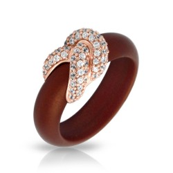 Ariadne Collection In Sterling Silver Rub.Brn/Rosegold/Cz.White Ring