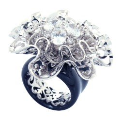 Corsage Black Ring
