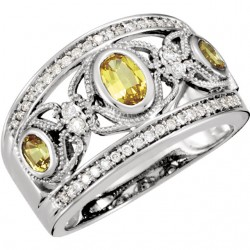 14K White Canary Yellow Sapphire & 1/4 CTW Diamond Ring