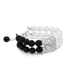 Prestige Collection In Sterling Silver Wht/ Pearl/Onyx/Wht/Cz Bracelet