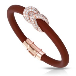 Ariadne Collection In Sterling Silver Rub.Brn/Rosegold/Cz.White Bracelet