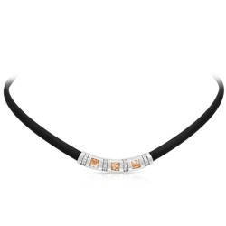 Celine Collection In Sterling Silver Blk/Ru/Champ/Cz Necklace