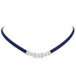 Celine Collection In Sterling Silver /Blue/Ru/ Milkstone/Cz Necklace