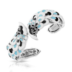 Love In Plume Collection In Sterling Silver White /Blueen/Cz.Black Bangle