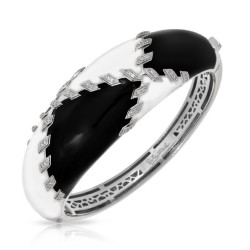 Sutura Collection In Sterling Silver Blk&White /En/White /Cz Bangle